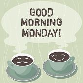 Handwriting Text Writing Good Morning Monday. Concept Meaning Greeting Someone In Start Of Day Week  poster