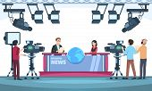 News Tv Show Studio. Presenters Broadcasting With Cameraman On Television. People Talking To Camera  poster