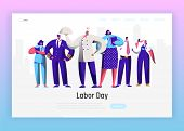 Labor Day Different Profession Character Group Landing Page. September Holiday National Celebration  poster