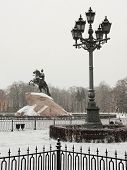 The image of street lamp in St. Petersburg and Piter The Thirst monument, goes under the name of Cop
