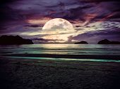 Super Moon. Colorful Sky With Bright Full Moon Over Seascape. Serenity Nature Background, Outdoor At poster