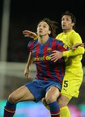 BARCELONA - JAN 2: FC Barcelona player  Ibrahimovic (L) with Capdevila (R) of Villarreal during Span
