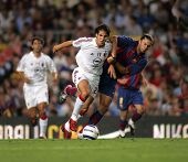 BARCELONA - AUG 26: AC Milan Brazilian Kaka during a friendly match between FC Barcelona and AC Mila