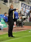 BARCELONA - OCT 18: Manuel Pellegrini coach of Villareal during a Spanish League match between Espan