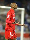 BARCELONA - MARCH 20: Frederic Kanoute of Sevilla during a Spanish League match between Espanyol and