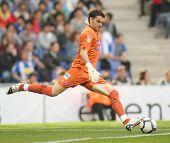 BARCELONA - 28 de marzo: Juan Pablo Colinas de Sporting Gijon durante un partido de la Liga española entre
