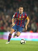 BARCELONA-APRIL 14: Xavi Hernandez of Barcelona in action during a Spanish League match between FC B