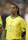 BARCELONA, SPAIN - MAY. 25: Brazilian player Ronaldinho portrait before the friendly match between Catalonia vs Brazil at Nou Camp Stadium in Barcelona, Spain. May 25, 2004.