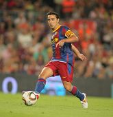 BARCELONA - AUGUST 21: Xavi Hernandez of Barcelona during Supercup match between Barcelona vs Sevilla at the New Camp Stadium in Barcelona on August 21, 2010
