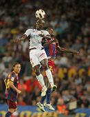 BARCELONA - OCTOBER 3: Pierre Webo of Mallorca in action during Spanish league match between FC Barc