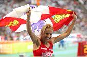 BARCELONA, SPAIN - JULY 30: Marta Dominguez of Spain celebrates silver on the 3000m steeplechase on