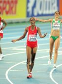 BARCELONA - AUG 1: Alemitu Bekele of Turkey celebrates victory on 5000m women of the 20th European A