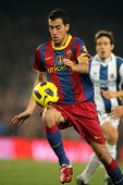 BARCELONA - DEC 12: Sergio Busquets of Barcelona in action during a Spanish League match between FC
