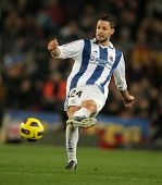 BARCELONA - DEC 12: Alberto de la Bella of Real Sociedad in action during a Spanish League match bet