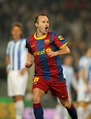 BARCELONA - JAN 16: Andres Iniesta of Barcelona celebrates goal  during the match between FC Barcelo