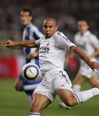 BARCELONA - SEPT 18: Brazilian player Ronaldo of Real Madrid in action during the match between Espanyol and Real Madrid at the Olympic Stadium on September 18, 2004 in Barcelona, Spain