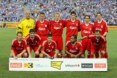 BARCELONA - AUG 2: Liverpool FC team before a friendly match against RCD Espanyol at the Estadi Cornella-El Prat on August 2, 2009 in Barcelona, Spain