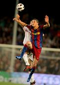 BARCELONA - APRIL 23: Ibrahim Afellay of Barcelona in action during the match between FC Barcelona and Osasuna at the Nou Camp Stadium on April 23, 2011 in Barcelona, Spain