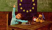 Idea Concept. Little Child Got Creative Idea In Classroom With Eu Flag. Genius Child Create Idea Wit poster
