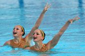 BARCELONA - JUNE, 18: French synchro swimmers Sara Labrousse and Chloe Willhelm in a Duet exercise d