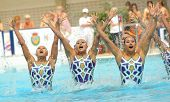 BARCELONA - JUNE 18: Members of the Japan synchro swimmers team perform a Free Team Rutine during the Espana Sincro meeting in Barcelona Picornell Swimpool on June 18, 2011 in Barcelona, Spain