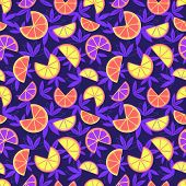 Hand Drawn Sliced Citrus Fruits Seamless Pattern. Futuristic Vibrant Bold Color Tropical Fruit Carto poster