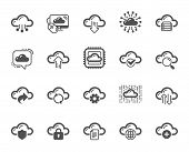 Cloud Data And Technology Icons. Set Of Hosting, Computing Data And File Storage Icons. Archive, Dow poster