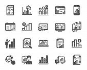 Graph Icons. Set Of Chart Presentation, Report, Increase Growth Graph Icons. Analytics Testing, Fall poster