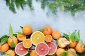 Citrus Fruits Orange, Lemon, Grapefruit, Mandarin, Lime. Fresh Fruits. Mixed Fruits Background. Heal poster