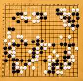 Top View On A Go Board. Desk For Board Game Go And Black And White Bones. Traditional Asian Strategy poster
