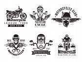 Biker Labels. Vintage Custom Motorcycle And Symbols For Badges Skull Bike Flags Wheel Bones Engine F poster