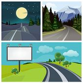 Road To City. Highway And Different Types Of Urban Road Over Hills Vector Weather Landscape. Illustr poster