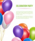 Advertizing Poster With Balloons. Transparent Colored Flying Helium Balloons For Surprise Birthday P poster