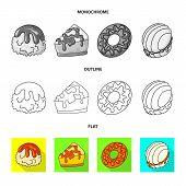 Vector Design Of Confectionery And Culinary Symbol. Collection Of Confectionery And Product Stock Sy poster