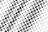 Black And White Halftone Vector Texture. Contrast Dotted Gradient. Rough Dotwork Surface For Vintage poster