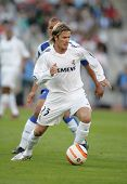 BARCELONA, SPAIN - SEPTEMBER 18: Real Madrid english David Beckham during Spanish league football match between Espanyol and Real Madrid at the Estadi Olimpic in Barcelona on September 18, 2005.
