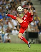 BARCELONA, SPAIN - AUG. 2: Jamie Carragher of RLiverpool FC in action during a friendly match agains