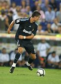 BARCELONA - SEPT. 12: Cristiano Ronaldo of Real Madrid in action during a Spanish League match against RCD Espanyol at the Estadi Cornella-El Prat on September 12, 2009 in Barcelona, Spain