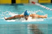BARCELONA, SPAIN - JUNE 14: American World champion swimmer Davis Tarwater swims butterfly style dur