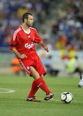 BARCELONA - AUGUST 2: Javier Mascherano, Argentinian player of Liverpool FC, in action during a friendly match against RCD Espanyol at the Estadi Cornella-El Prat on August 2, 2009 in Barcelona, Spain.