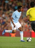 BARCELONA, SPAIN - AUG. 19: Manchester City's Nigerian Kelvin Etuhu during the match Trophy Joan Gamper between Barcelona and Manchester City at Nou Camp Stadium in Barcelona, Spain. August 19, 2009.