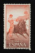 BARCELONA - SEPTEMBER 30: Vintage Spanish stamp printed in 1960 with bullfight illustration on Septe