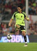 BARCELONA - 25 de outubro: Meia colombiana Abel Aguilar de Saragoça durante jogo da liga espanhola, B