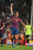 BARCELONA - OCTOBER 25: Swedish Zlatan Ibrahimovic of Barcelona celebrates goal during Spanish leagu