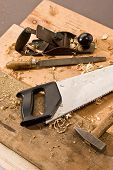 picture of joinery  - set of carpenters tool on tne wood and shavings - JPG