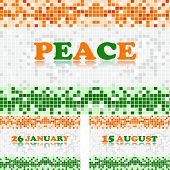National trio color, marble reflected three cards with text peace for Republic and Independence Day.