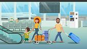 Family Departure Or Arrival In Airport Cartoon Vector Concept With Father Pushing Baggage Trolley Wi poster