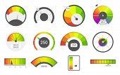 Speedometer Icons. Credit Score Indicators. Speedometer Goods Gauge Rating Meter. Level Indicator, C poster