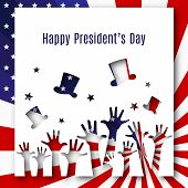 Happy President Day Text Banner Hands Hats On American Flag Background Patriotic American Theme Usa  poster