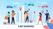 Car Sharing. Short Trips For Family Inside City. Vector Illustration. View Around City Comfortable E poster